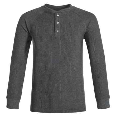 French Toast Thermal Henley Shirt - Long Sleeve (For Big Boys) in Charcoal Heather Gray - Closeouts