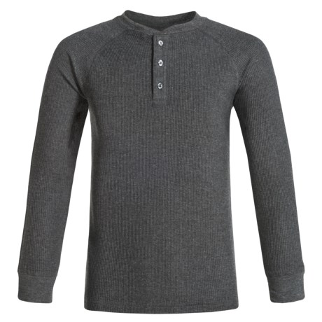 French Toast Thermal Henley Shirt - Long Sleeve (For Big Boys) in Charcoal Heather Gray