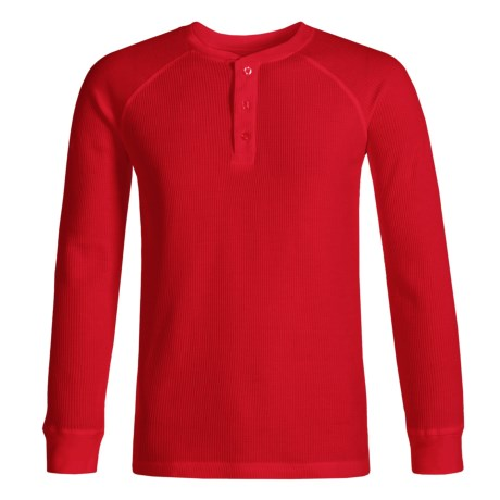 French Toast Thermal Henley Shirt - Long Sleeve (For Little Boys) in Bright Red