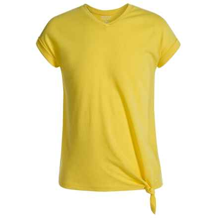 French Toast Tie-Side Shirt - Short Sleeve (For Big Girls) in Bright Yellow - Closeouts