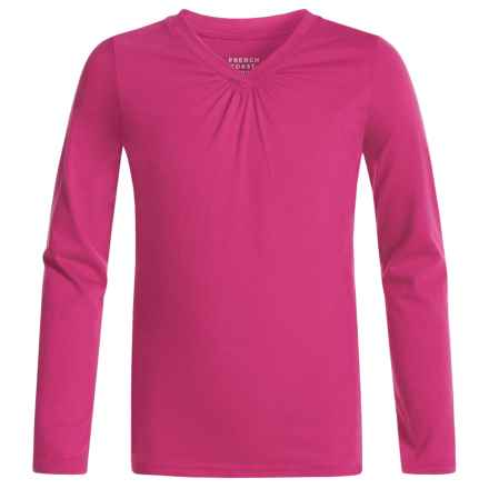 French Toast V-Neck Shirt - Long Sleeve (For Big Girls) in Medium Pink - Closeouts