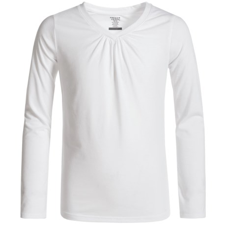 French Toast V-Neck T-Shirt - Long Sleeve (For Big Girls) in White