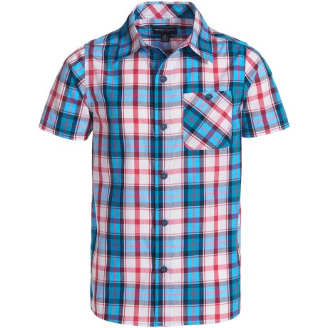 French Toast Woven Poplin Shirt - Short Sleeve (For Big Boys) in Bright Blue
