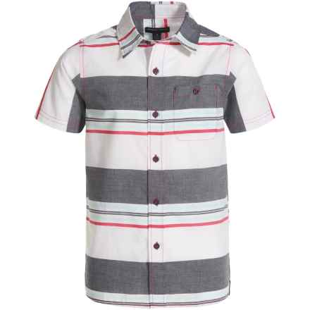 French Toast Woven Poplin Shirt - Short Sleeve (For Big Boys) in Red - Closeouts
