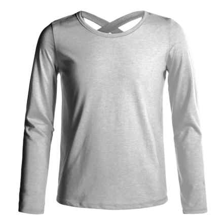 French Toast X-Back Shirt - Long Sleeve (For Big Girls) in Heather Grey - Closeouts