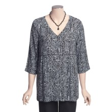 Fresco by Nomadic Traders Caprice Allyson Shirt Jacket - Crinkle Rayon, 3/4 Sleeve (For Women) in Tigress Black - Closeouts