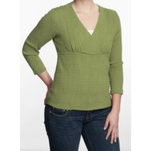 Fresco by Nomadic Traders Crossover Shirt - Smocked 3/4 Sleeve (For Women) in Cilantro - Closeouts