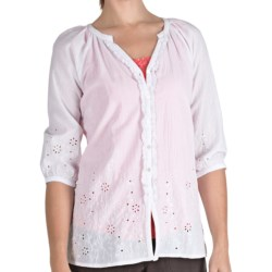 Fresco by Nomadic Traders Embroidered Springtime Shirt - 3/4 Sleeve (For Women) in White/Peri