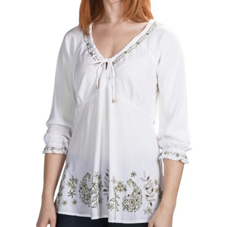 Fresco by Nomadic Traders Olivia Shirt - Long Sleeve (For Women) in White/Fennel