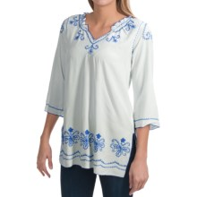 Fresco by Nomadic Traders Shirt Tales Artisan Tunic Shirt - 3/4 Sleeve (For Women) in White/Cobalt - Closeouts