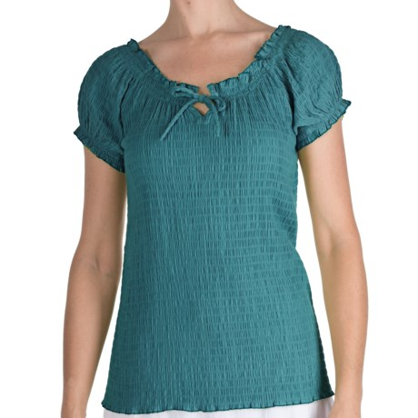 Fresco by Nomadic Traders Smocked Gianna Shirt - Short Sleeve (For Women) in Tearose