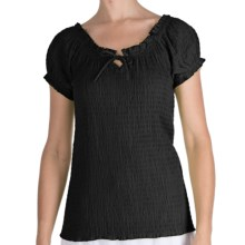 Fresco by Nomadic Traders Smocked Gianna Shirt - Short Sleeve (For Women) in Black - Closeouts
