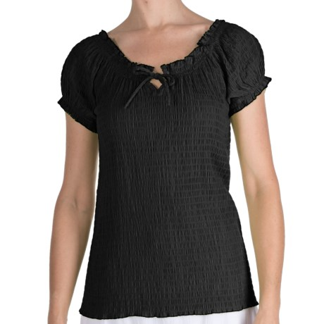 Fresco by Nomadic Traders Smocked Gianna Shirt - Short Sleeve (For Women) in Black
