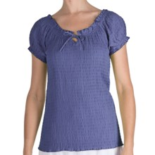 Fresco by Nomadic Traders Smocked Gianna Shirt - Short Sleeve (For Women) in Cornflower - Closeouts