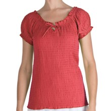 Fresco by Nomadic Traders Smocked Gianna Shirt - Short Sleeve (For Women) in Tearose - Closeouts