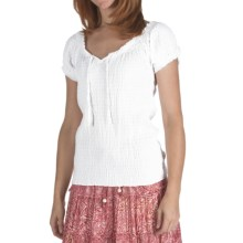 Fresco by Nomadic Traders Smocked Gianna Shirt - Short Sleeve (For Women) in White - Closeouts