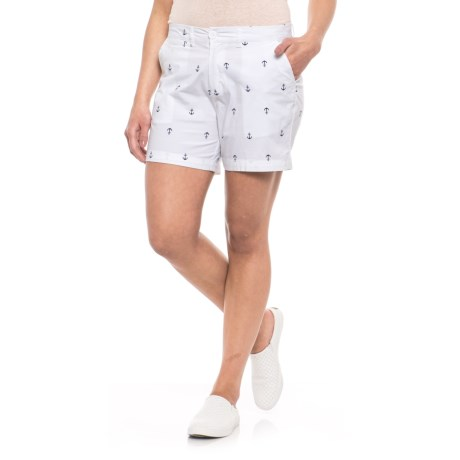 Fresh Anchor Icon Shorts (For Women) in White
