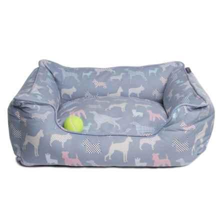 "Fringe Studio Calico Dog Print Rectangular Cuddler Dog Bed - Medium, 25x21"" in Gray - Closeouts"