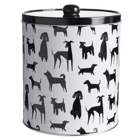 "Fringe Studio Printed Dog Treat Tin - 6.75x7.5"" in Black/White"