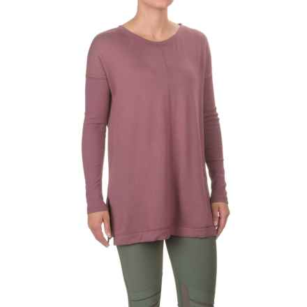 Front Seam Knit Tunic Shirt - Long Ribbed Sleeve (For Women) in Night Mauve - Closeouts