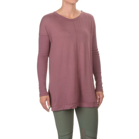 Front Seam Knit Tunic Shirt - Long Ribbed Sleeve (For Women) in Night Mauve