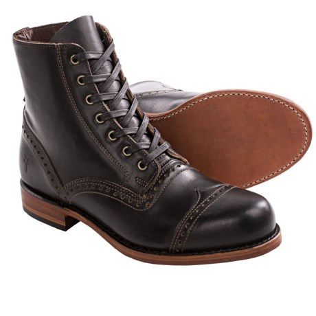 Frye Arkansas Smooth Brogue Boots - Full-Grain Leather (For Men) in Black