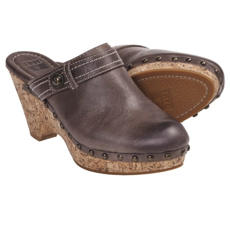 Frye Audra Button Clogs - Leather (For Women) in Dark Brown