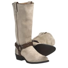 Frye Billy Braided Harness Cowboy Boots - Leather (For Women) in Grey - Closeouts