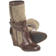 Frye Corby Strappy Boots - Canvas-Leather (For Women) in Fatigue/Chocolate - Closeouts