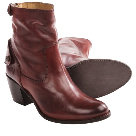 Frye Jackie Zip Short Boots - Leather (For Women) in Burnt Red