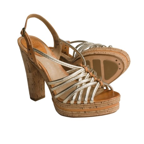 Frye Lena Strappy Sling Sandals - Leather (For Women) in Pale Gold