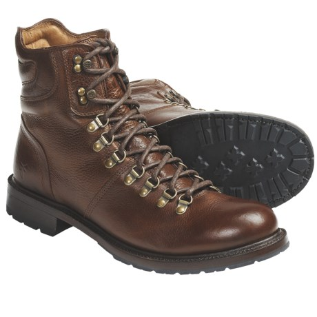 Frye Rogan Hiker Boots - Pebbled Leather (For Men) in Brown