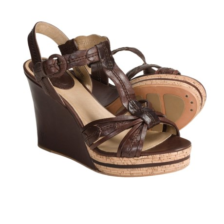 Frye Shay Leaf T-Strap Sandals - Leather (For Women) in Dark Brown