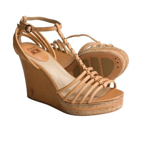 Frye Shay Strappy Sandals - Leather, T-Strap (For Women) in Natural