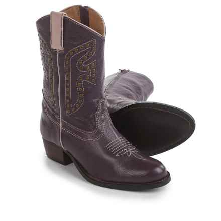 Frye Small Frye Rodeo Cowboy Boots - Leather (For Little and Big Girls) in Plum - Closeouts