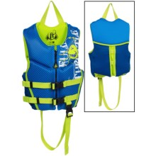 Full Throttle Hinged Flex-Back Neoprene Type III PFD Life Jacket (For Little Kids) in Blue Monster - Closeouts