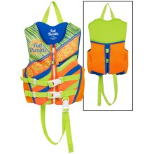 Full Throttle Hinged Flex-Back Neoprene Type III PFD Life Jacket (For Little Kids) in Green/Orange Turtles - Closeouts