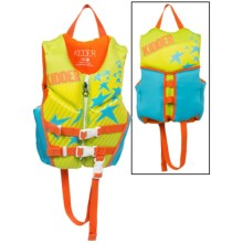 Full Throttle Hinged Flex-Back Neoprene Type III PFD Life Jacket (For Little Kids) in Green/Teal Stars - Closeouts