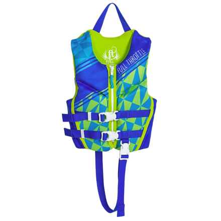 Full Throttle Hinged Flex-Back Neoprene Type III PFD Life Jacket (For Little Kids) in Green - Closeouts