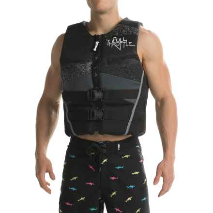 Full Throttle Hinged Flex-Back Neoprene Type III PFD Life Jacket (For Men) in Black/Grey - Closeouts