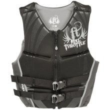 Full Throttle Hinged Flex-Back Neoprene Type III PFD Life Jacket (For Men) in Gray - Closeouts
