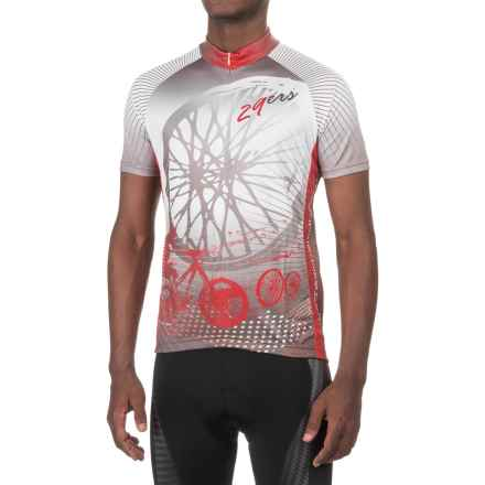 Funkier Printed Cycling Jersey - Zip Neck, Short Sleeve (For Men) in Red - Closeouts