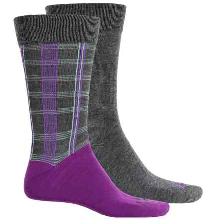 Funky Socks Light Socks - 2-Pack, Crew (For Men) in Grey Heather Color Check Plaid - Closeouts