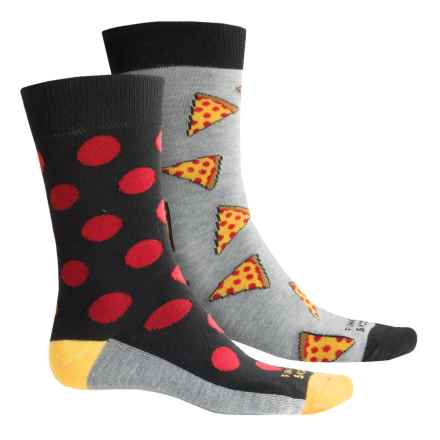 Funky Socks Lightweight Socks - 2-Pack, Crew (For Kids) in Grey Heather/Pizza - Overstock