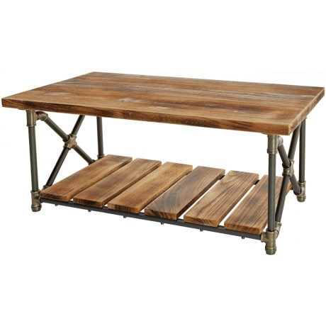 Furniture Pipeline Houston Industrial Coffee Table in Brass/Gray