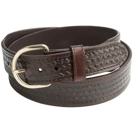 G Bar D Basket-Weave-Embossed Leather Belt (For Men) in Brown - Closeouts