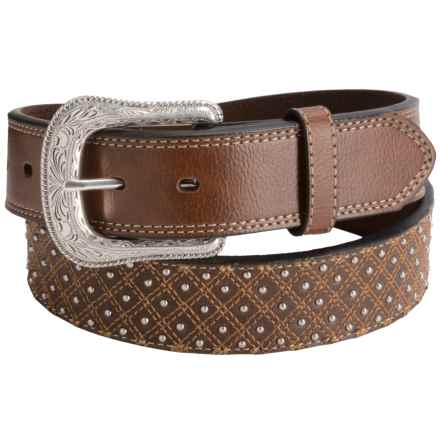 G Bar D Diamond Top-Stitch Leather Belt (For Men) in Brown - Closeouts