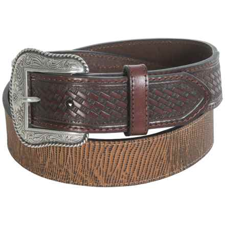 G Bar D Distressed Basket-Weave Leather Belt (For Men) in Brown - Closeouts