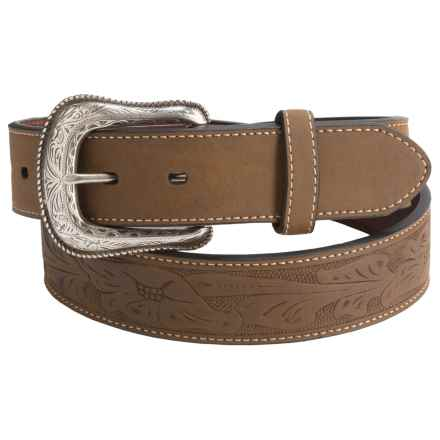 G Bar D Embossed Genuine Leather Belt (For Men) in Brown - Closeouts