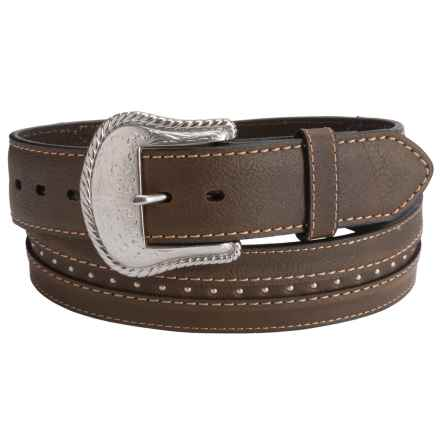 G Bar D Rivet Detail Leather Belt (For Men) in Brown - Closeouts
